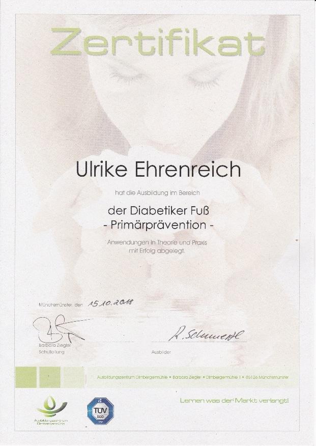 Zertifikat Fachfußpflege Diabetiker Fuß