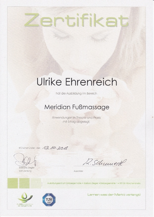 Zertifikat Meridiane Fußmassage